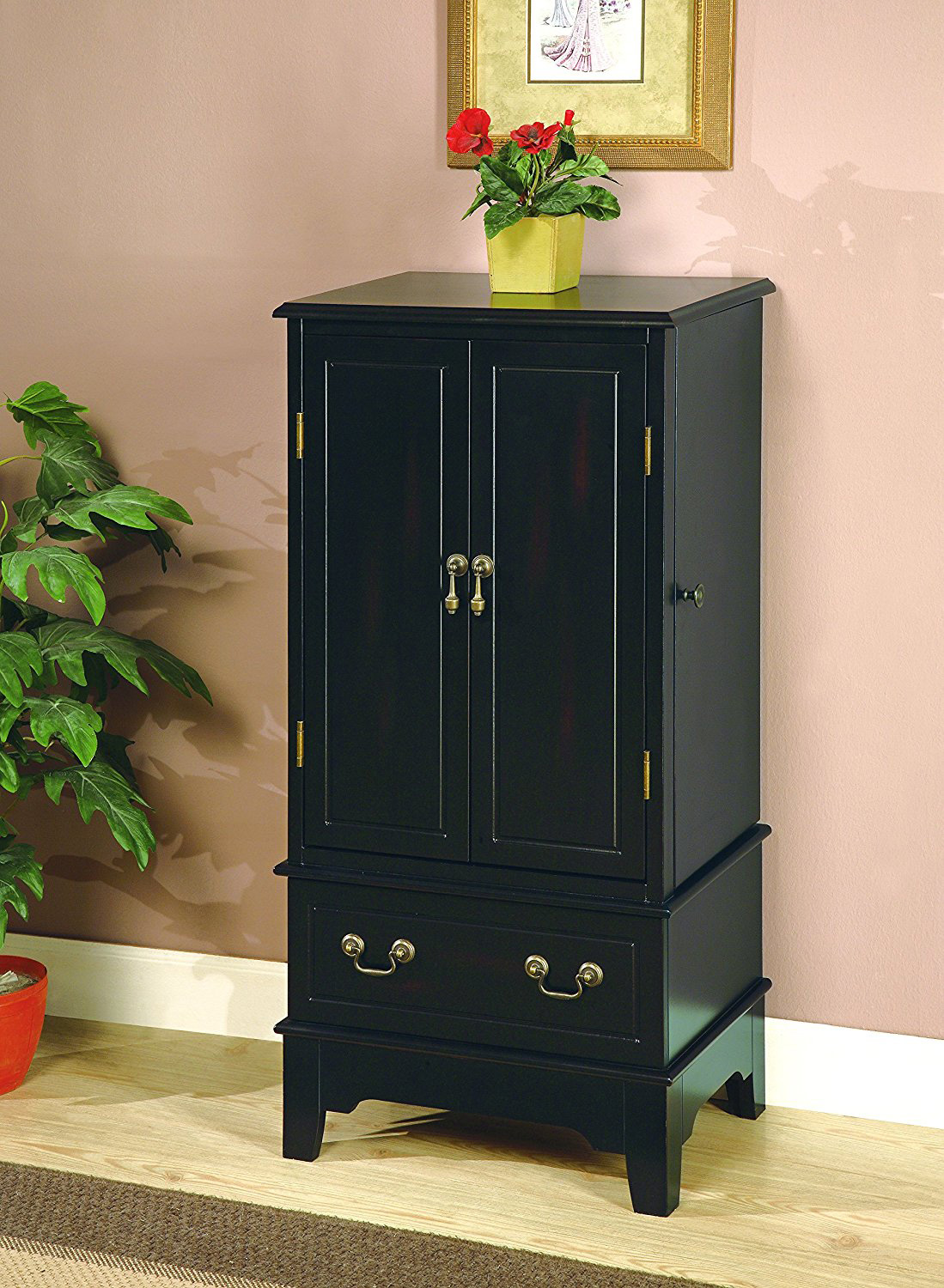Cabinet Style Black Jewelry Armoire