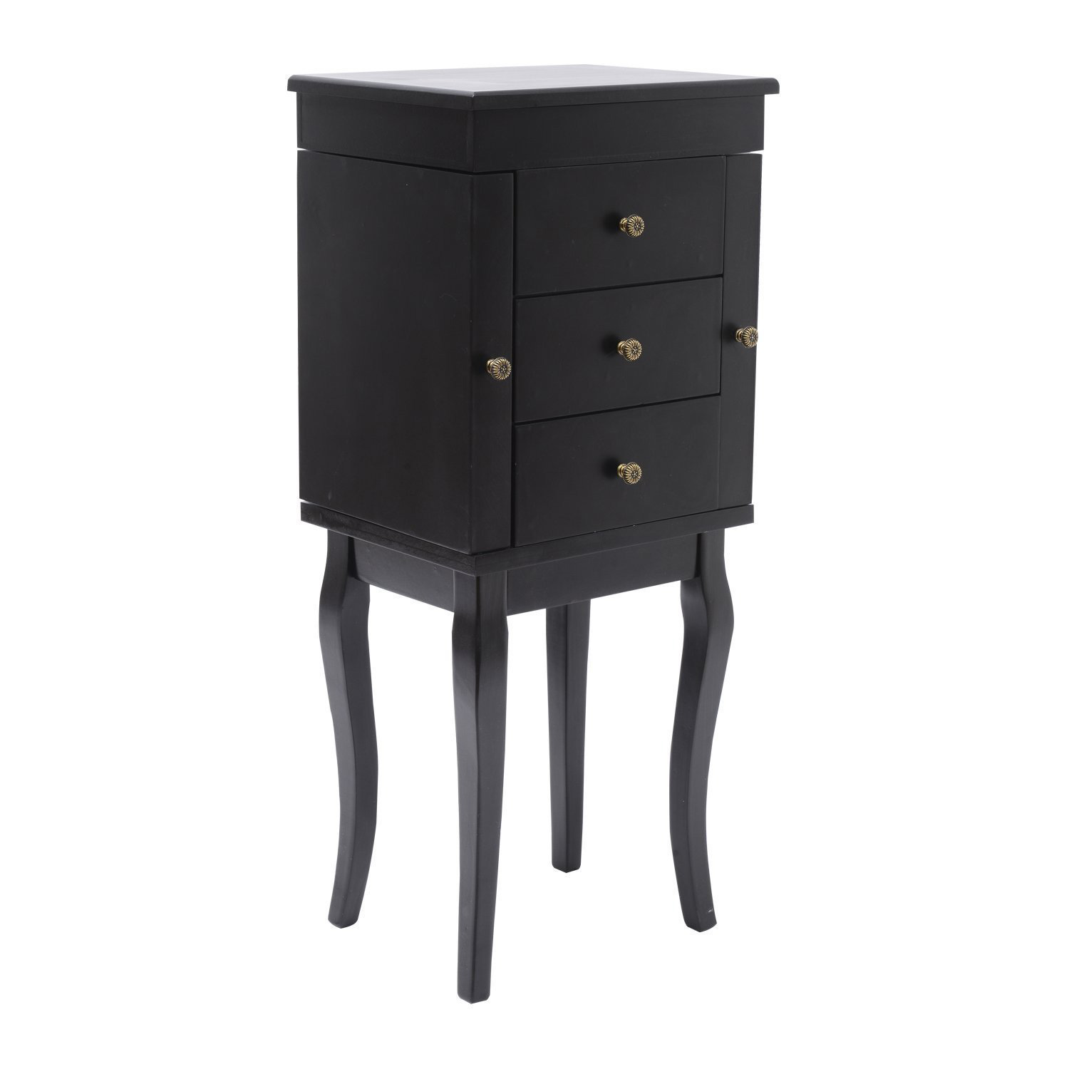 Cute Minimalist Black Floor Standing Jewelry Armoire