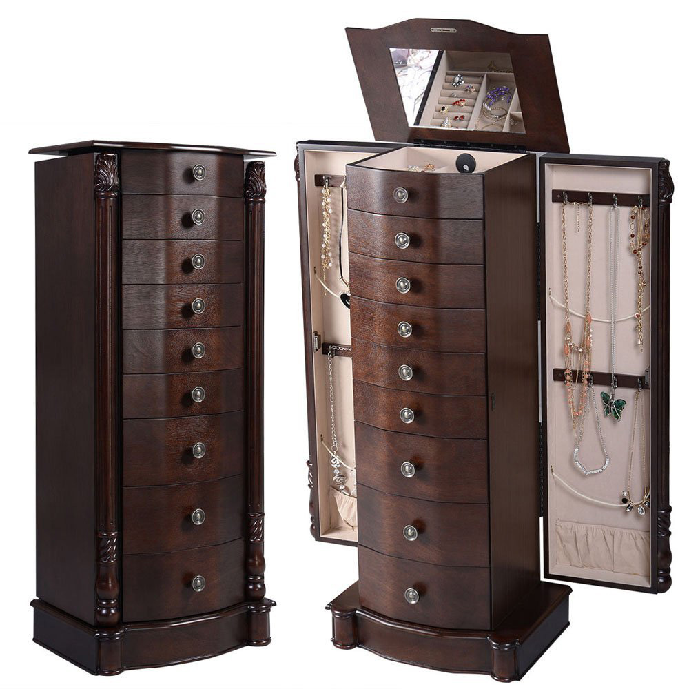 Elegant Brown Side Drawers Tall Jewelry Armoire