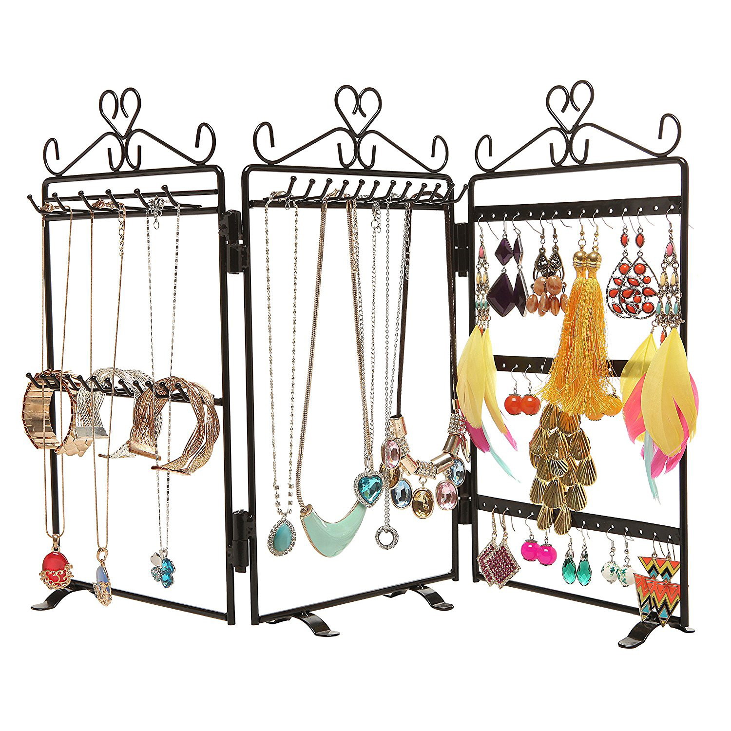 High Capacity Triple Panel Jewelry Holder Stand