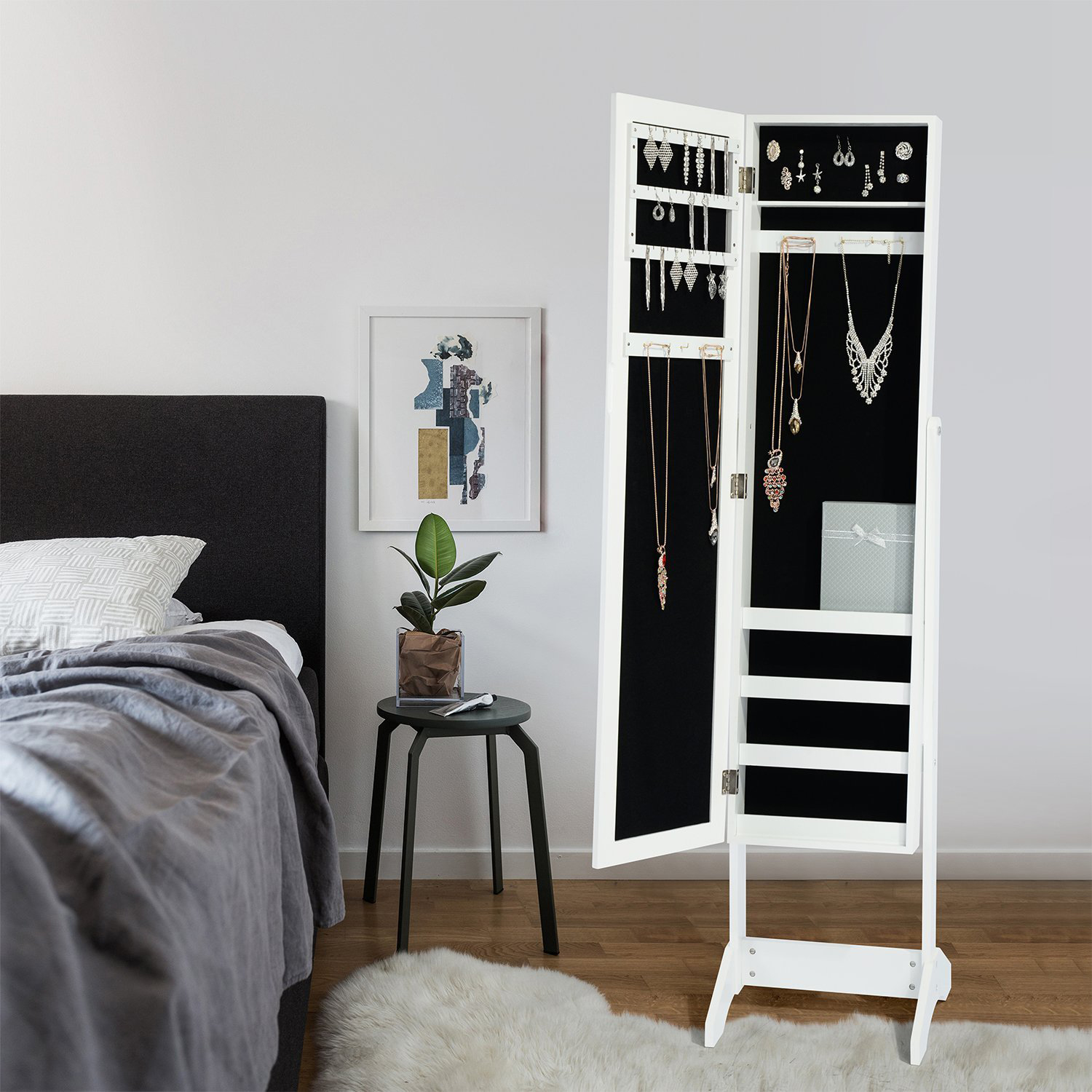 Minimalist White Wooden Standing Mirror Jewelry Armoire