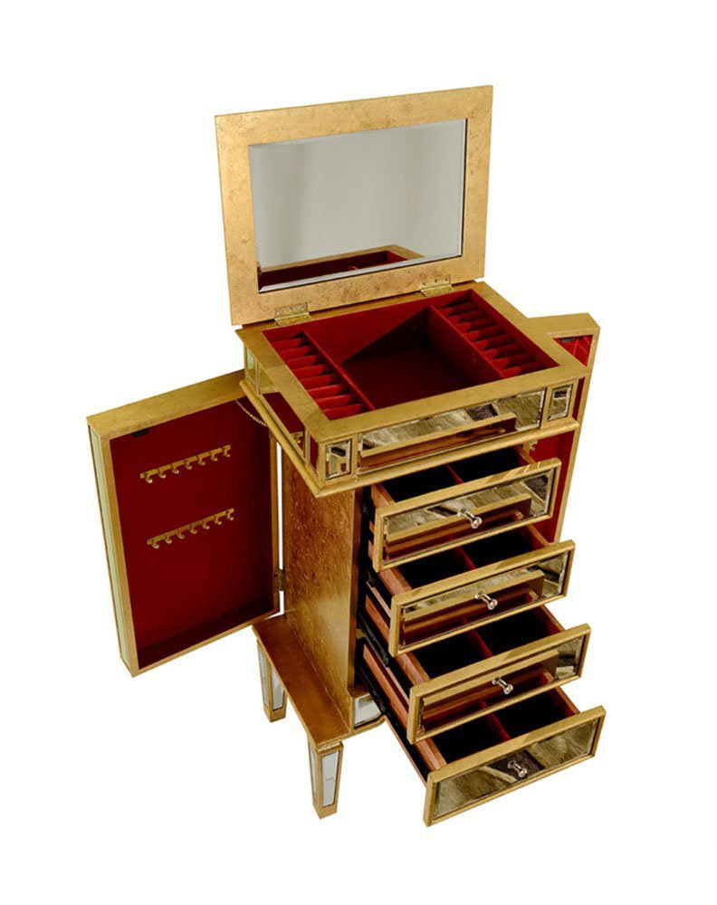 Beautiful Creative Golden Antique Style Floor Standing Jewelry Armoire