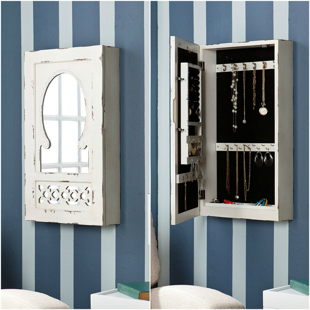 Beautiful Distressed Style Vintage Wall Hanging Mirrored Jewelry Armoire