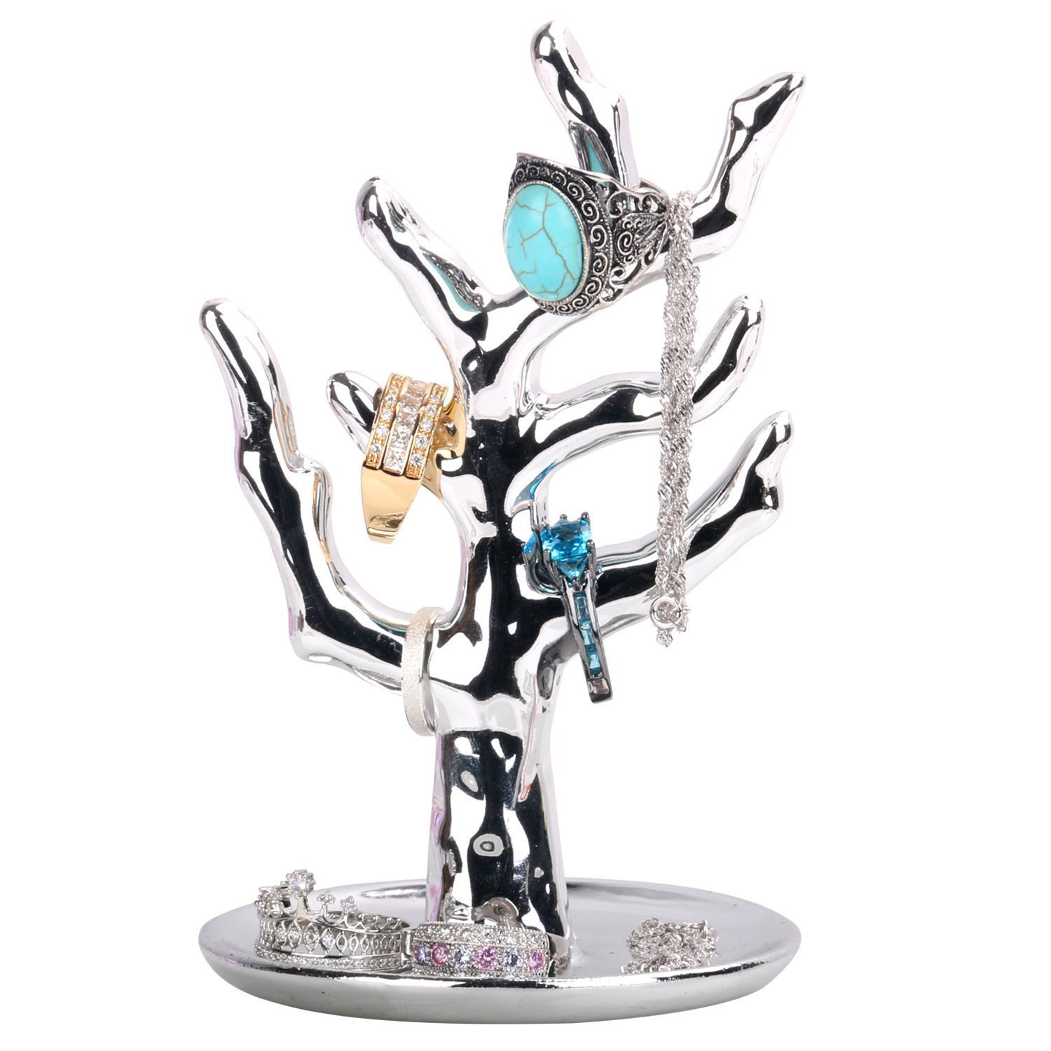 Beautiful Silver Tree Jewelry Holder Stand