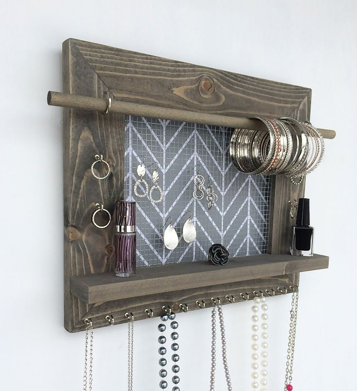 Creative Wall Hanging Wooden Picture Frame Jewelry Holder