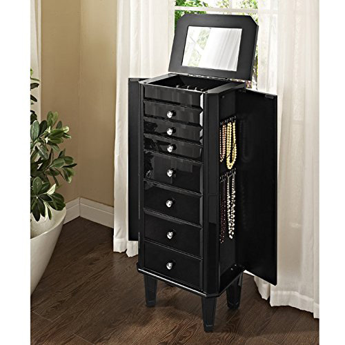 Elegant Glossy Black Cabinet Style Jewelry Armoire