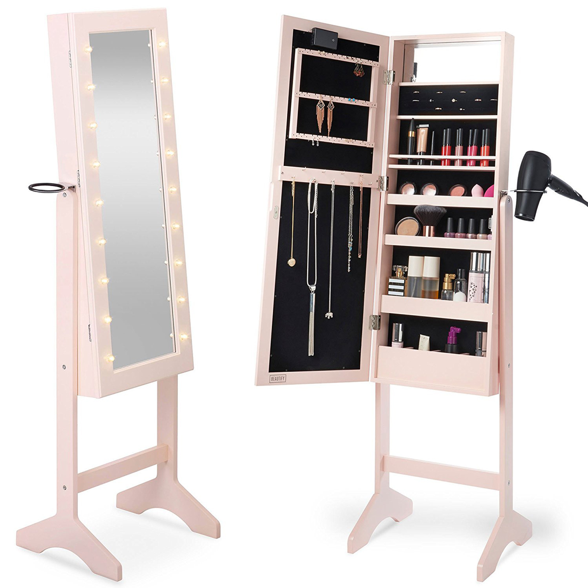 Minimalist Pink Lighted Standing Mirror Jewelry Armoire