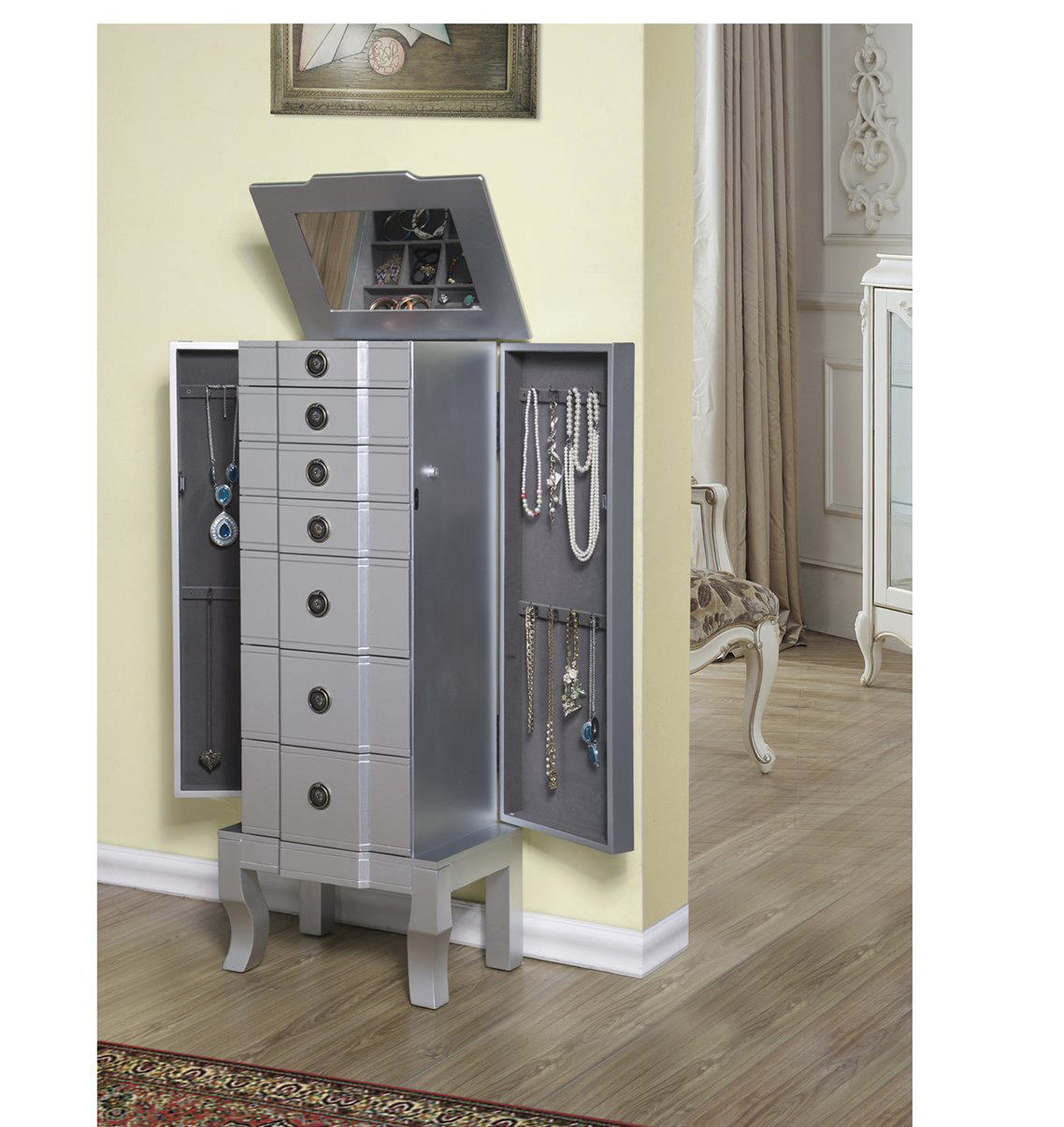 Charming Modern Elegant Dark Silver Large Capacity Wall Standing Jewelry Armoire