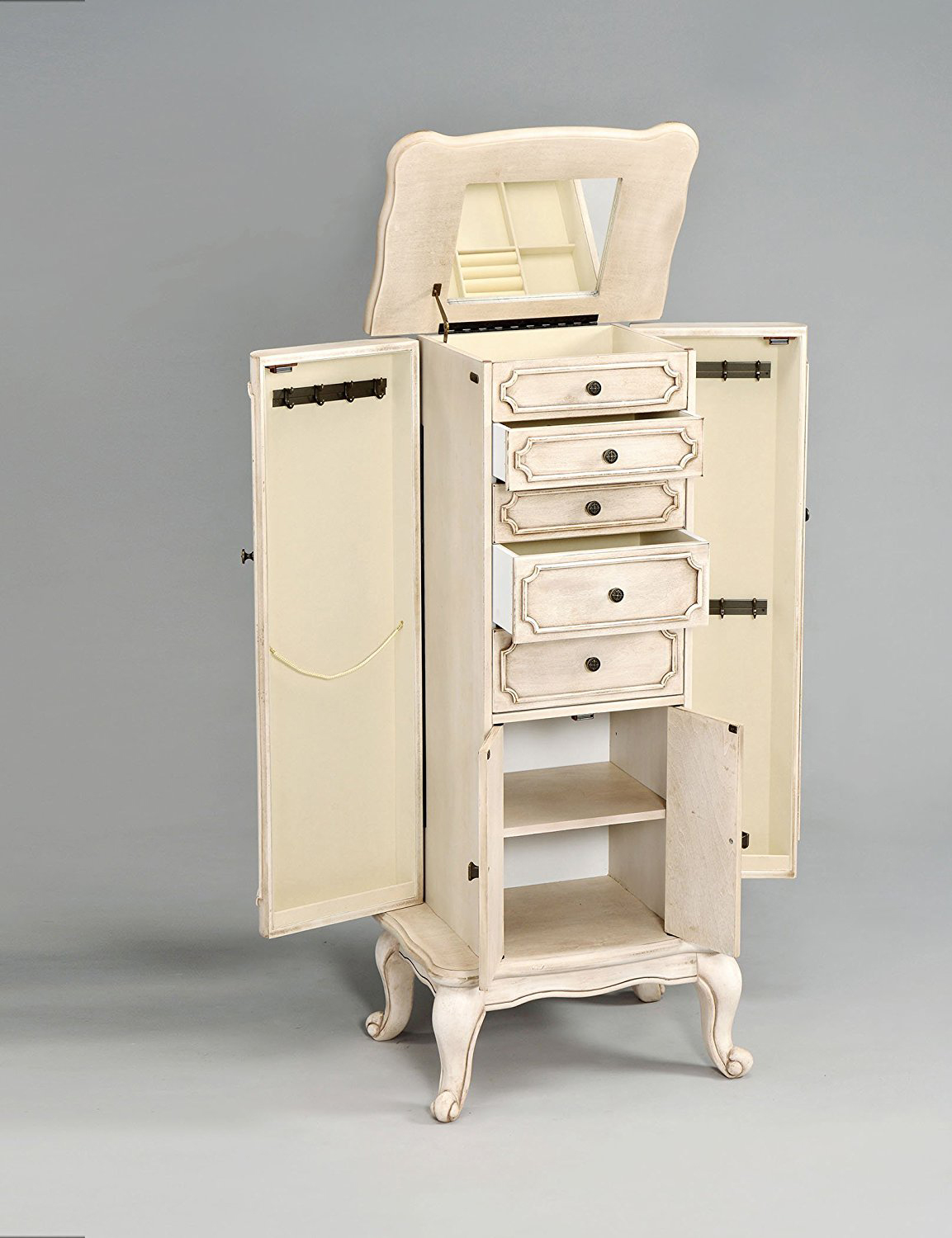 Retro White Wooden Floor Standing Cabinet Shaped Jewelry Armoire