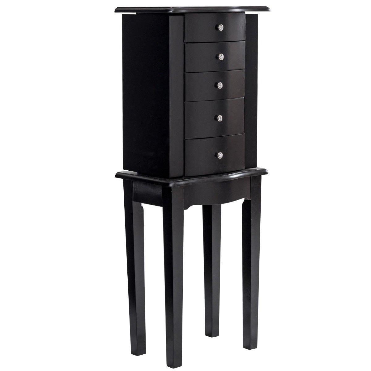 Simple Black Minimalist Wall Standing Jewelry Armoire