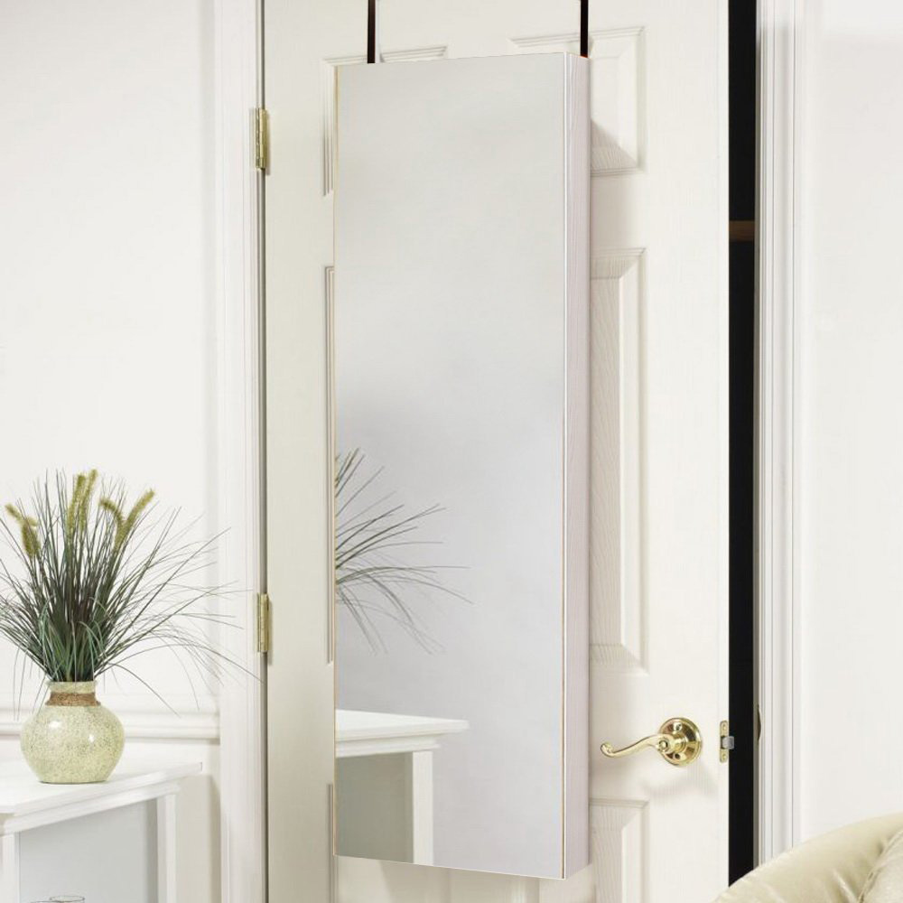 Small Tall Full Width Mirror Over The Door Jewelry Armoire