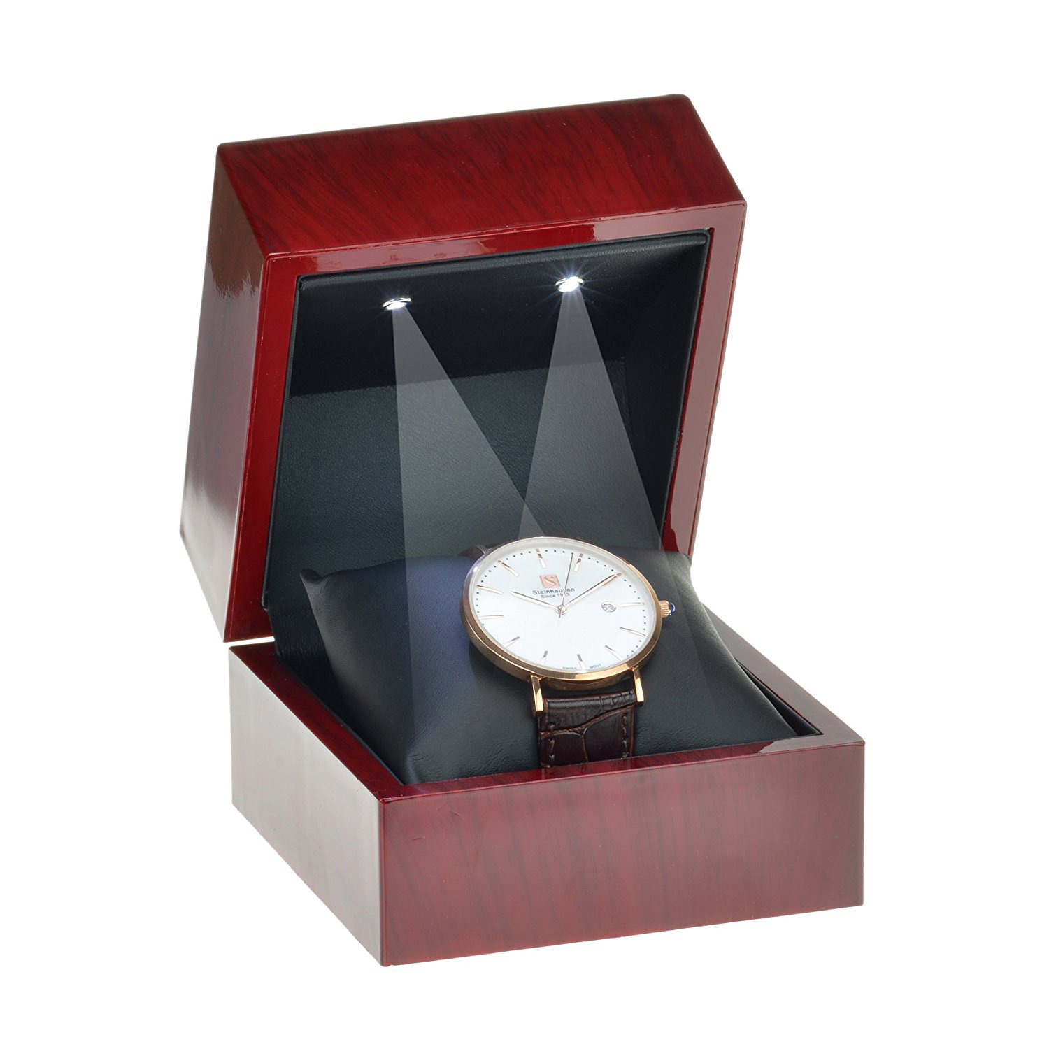 Beautiful Dark Red Watch Holder Display Box with Lighting