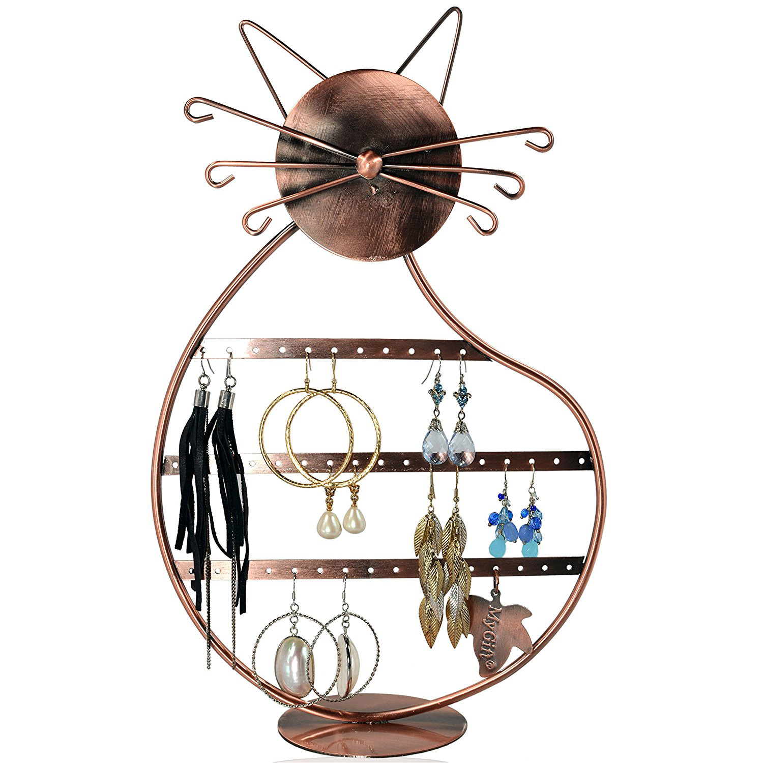 Cute Copper Cat Themed Jewelry Holder Stand