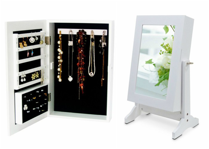 Cute Small Minimalist White Standing Mirror Jewelry Armoire