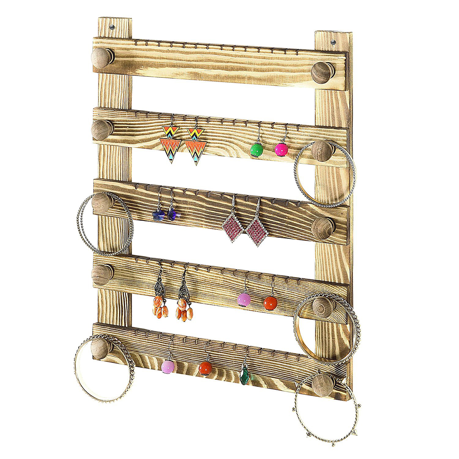 Rustic Wooden Wall Hanging Earring Holder