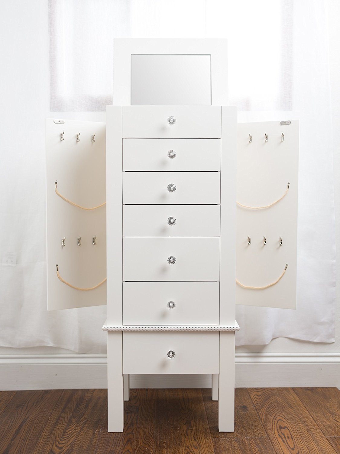 Small Minimalist White Floor Standing Jewelry Armoire
