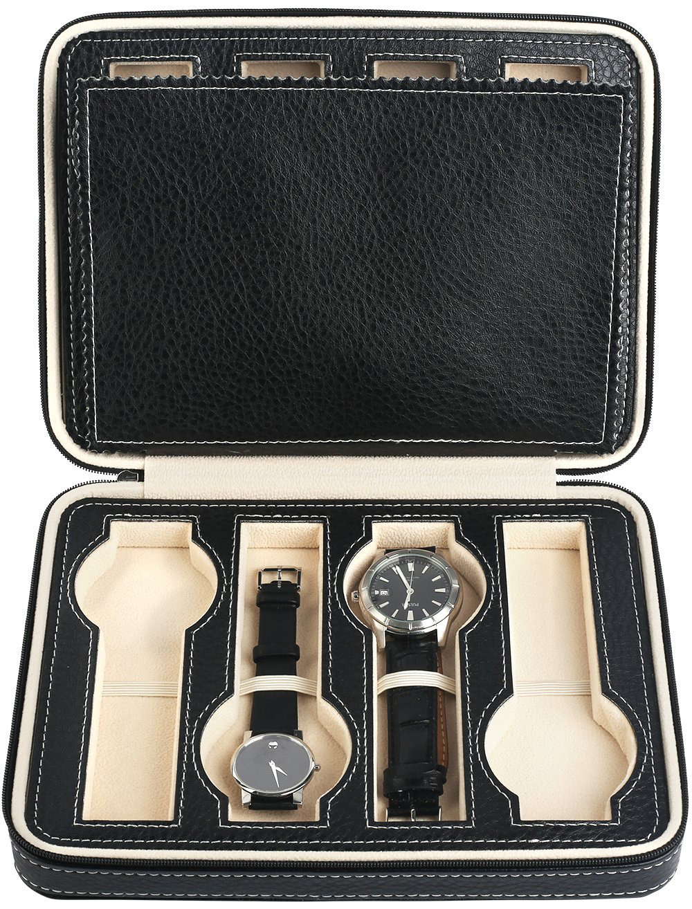 Beautiful Stitched Black Leather Watch Holder Case
