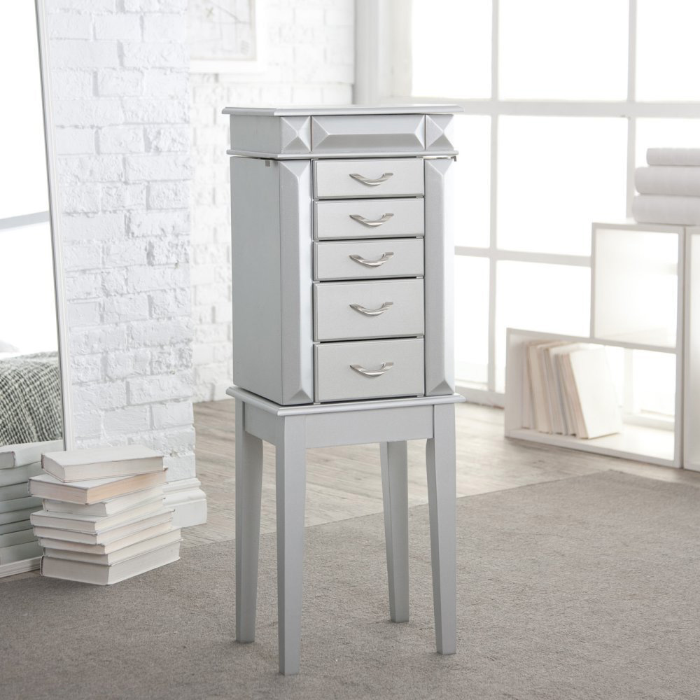 Modern Abstract White Floor Standing Jewelry Armoire
