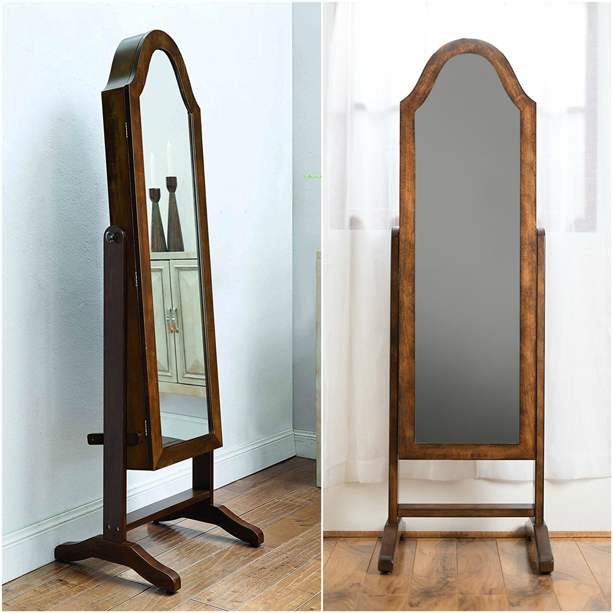 Beautiful Rustic Tall Full Length Mirror Floor Standing Jewelry Armoire