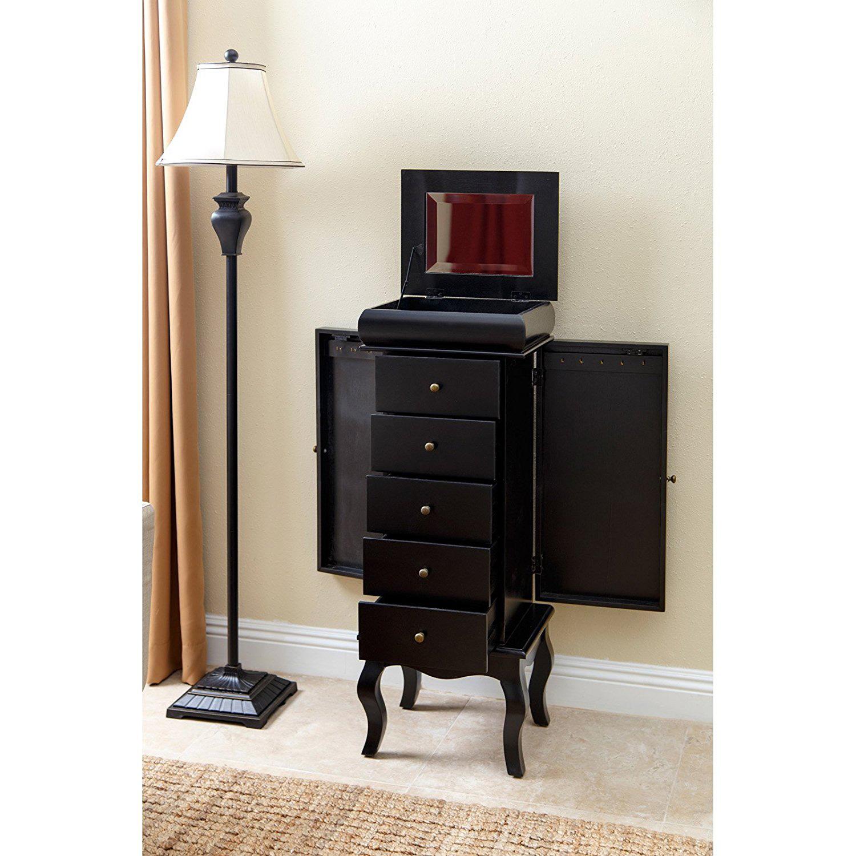 Minimalist Black Cabinet Style Jewelry Armoire