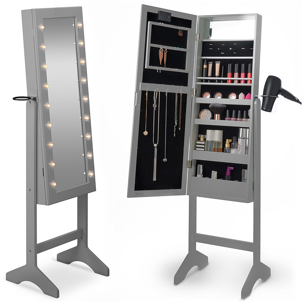 Minimalist Silver Lighted Jewelry Armoire