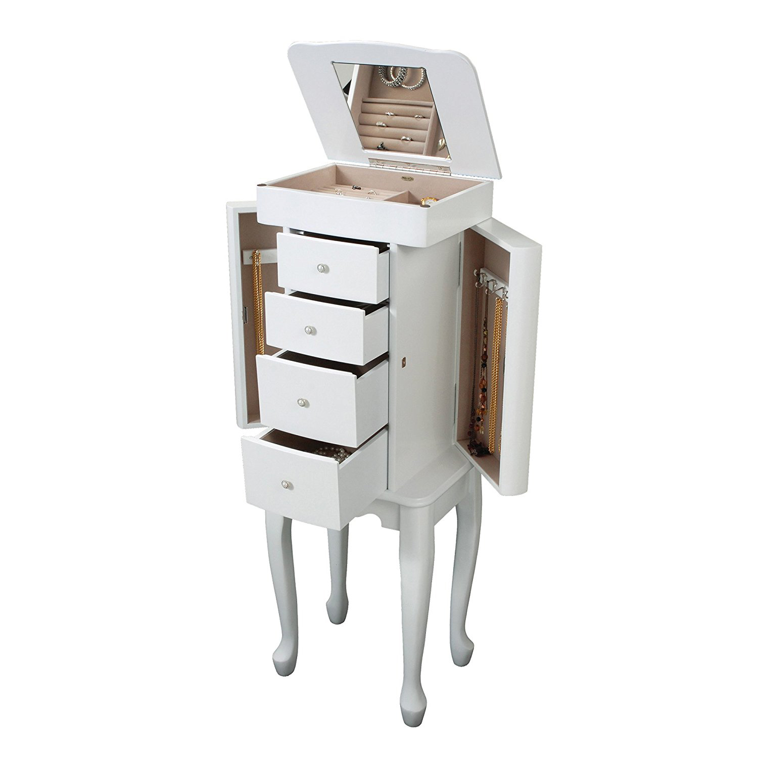 Nightstand Style White Jewelry Armoire w/ Frontal & Side Drawers