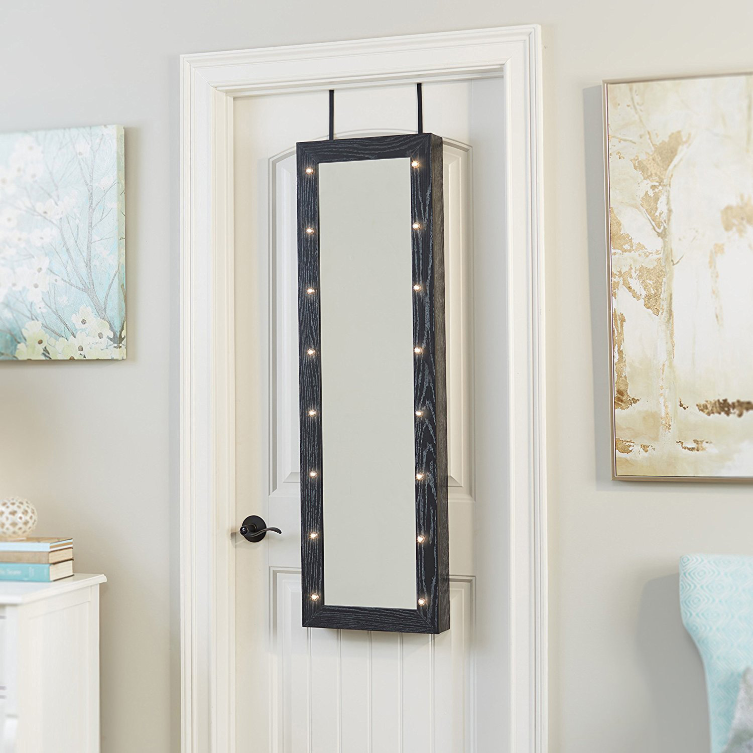 Simple Lighted Mirrored Full Length Over The Door Jewelry Armoire