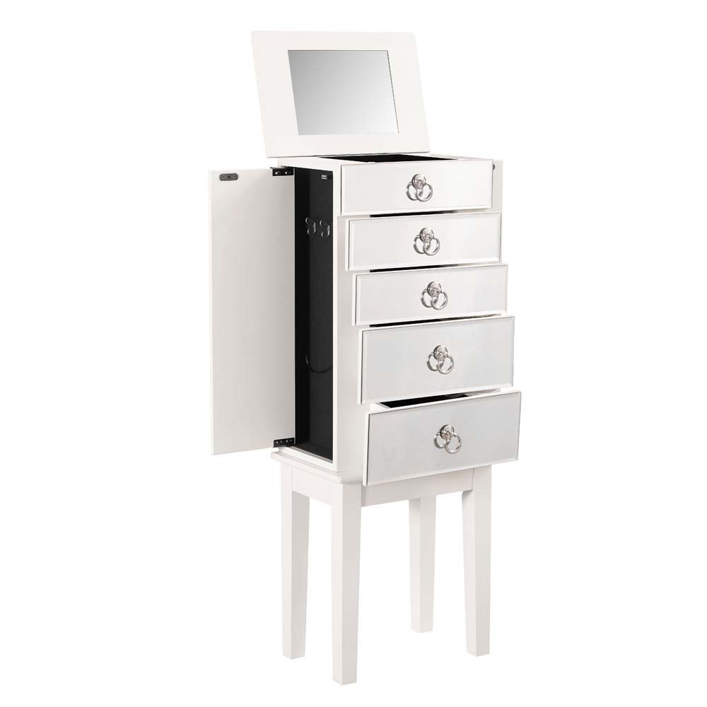 Cute Silver Knobs Top Mirrored Floor Standing Jewelry Armoire