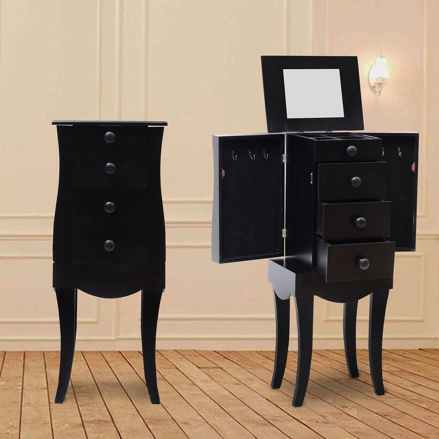 Elegant Curved Floor Standing Black Jewelry Armoire