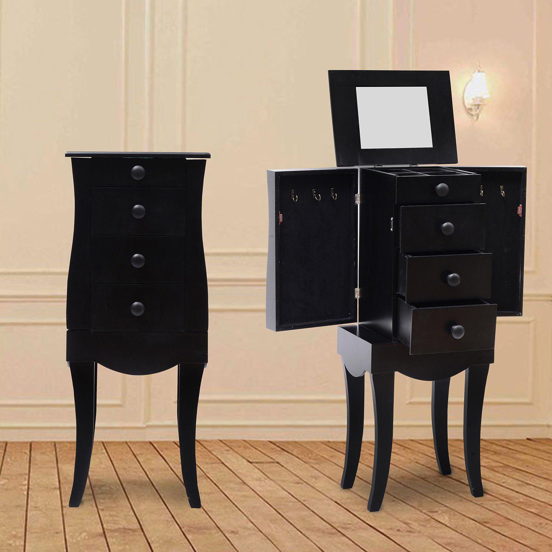 Elegant Curved Floor Standing Black Jewelry Armoire