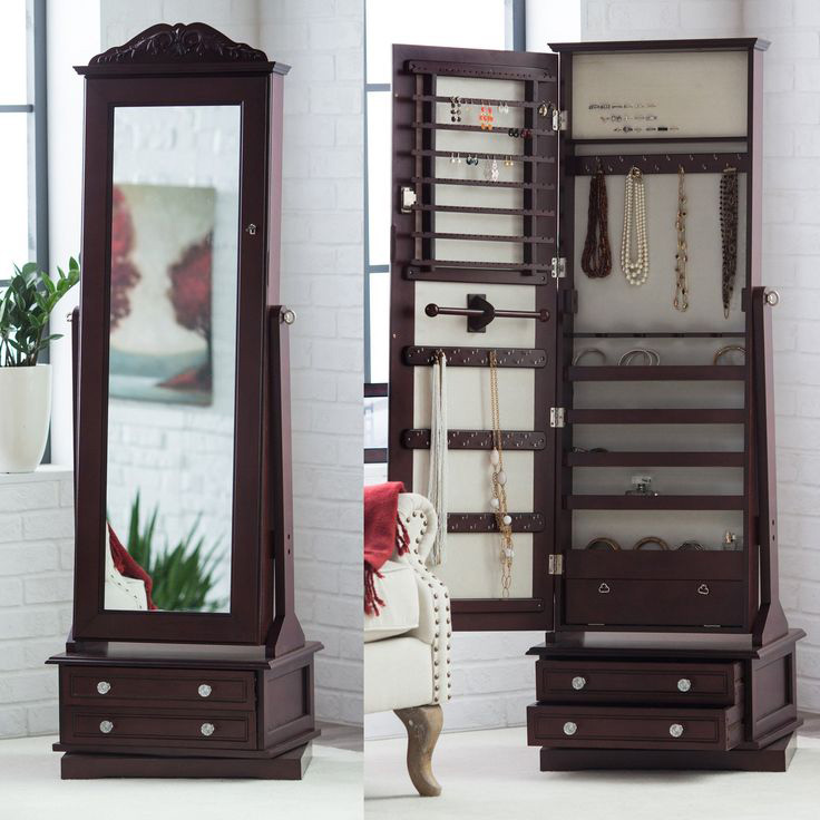 Elegant Tall Decorative Floor Standing Mirrored Jewelry Armoire