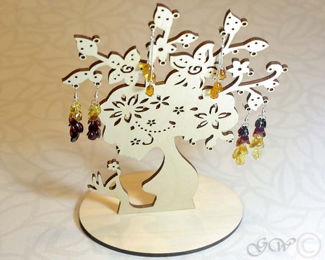 Golden Tree Shaped Earring Holder