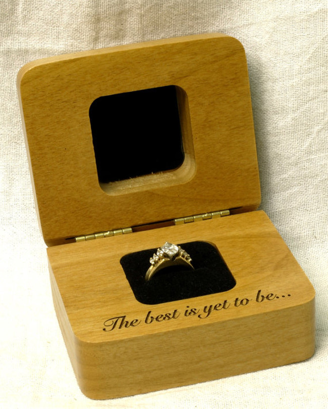 Minimalist Wooden Engagement Ring Holder Box