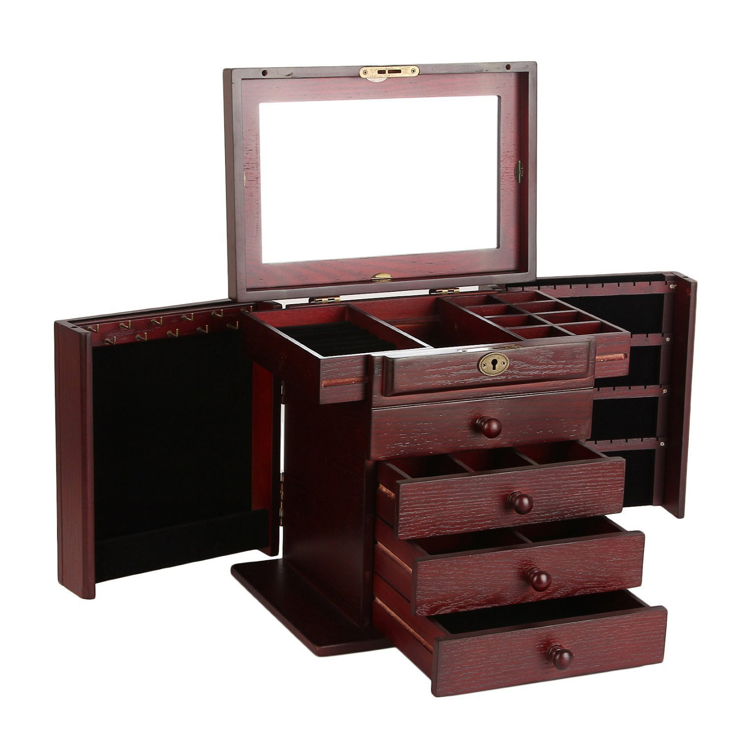 Simple Wooden Small Countertop Jewelry Armoire