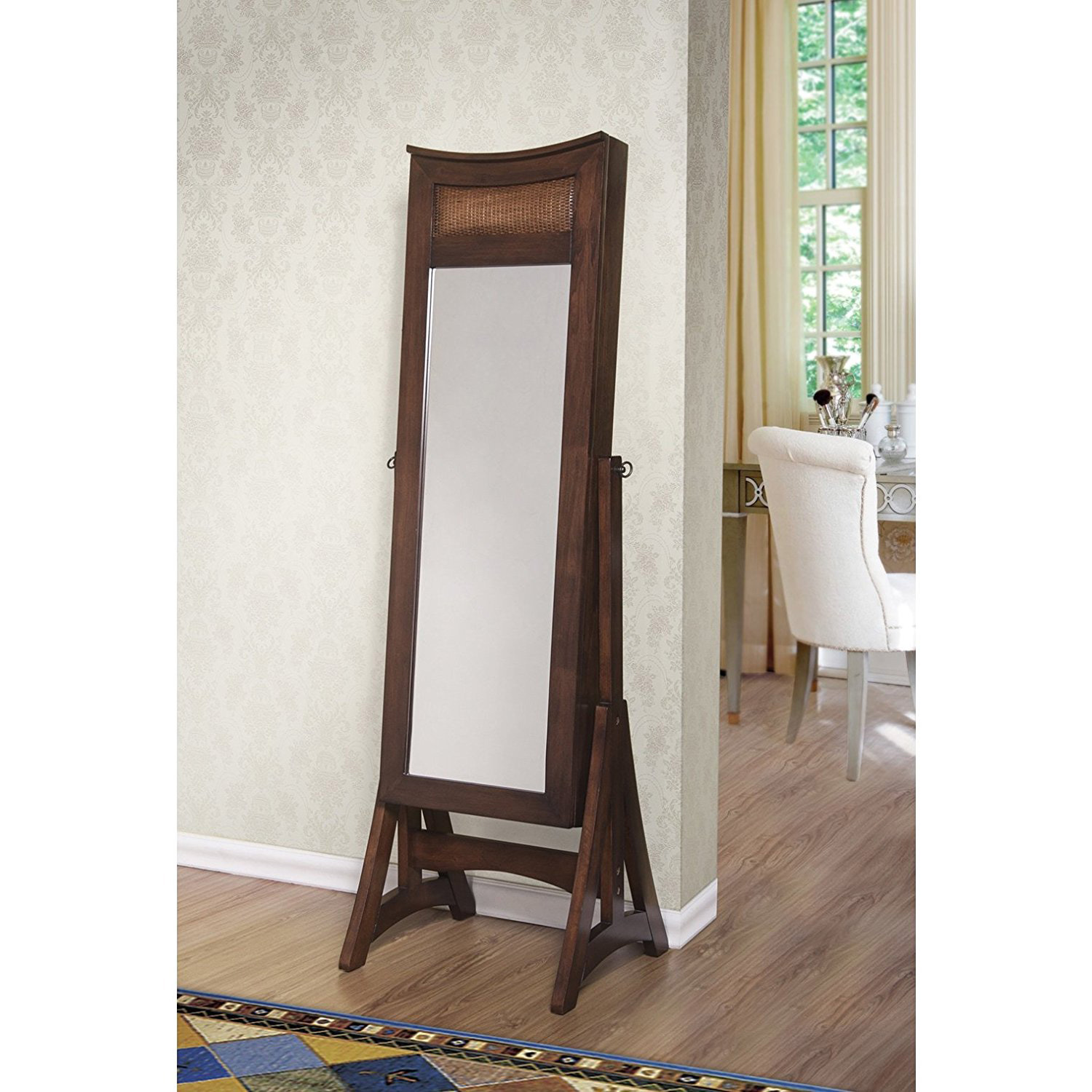 Creative Rustic Mirrored Floor Standing Tall Jewelry Armoire
