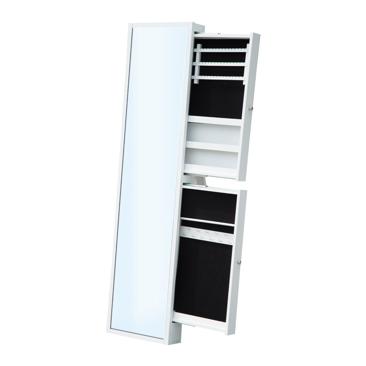 Minimalist White Free Standing Sliding Drawers Mirror Jewelry Armoire