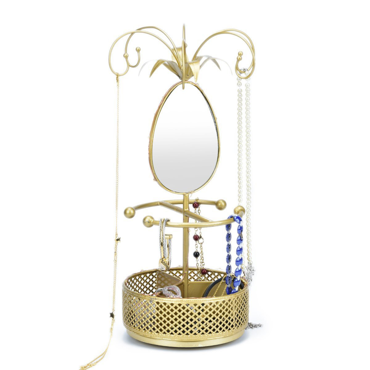 Beautiful Golden Mirrored Jewelry Holder Stand