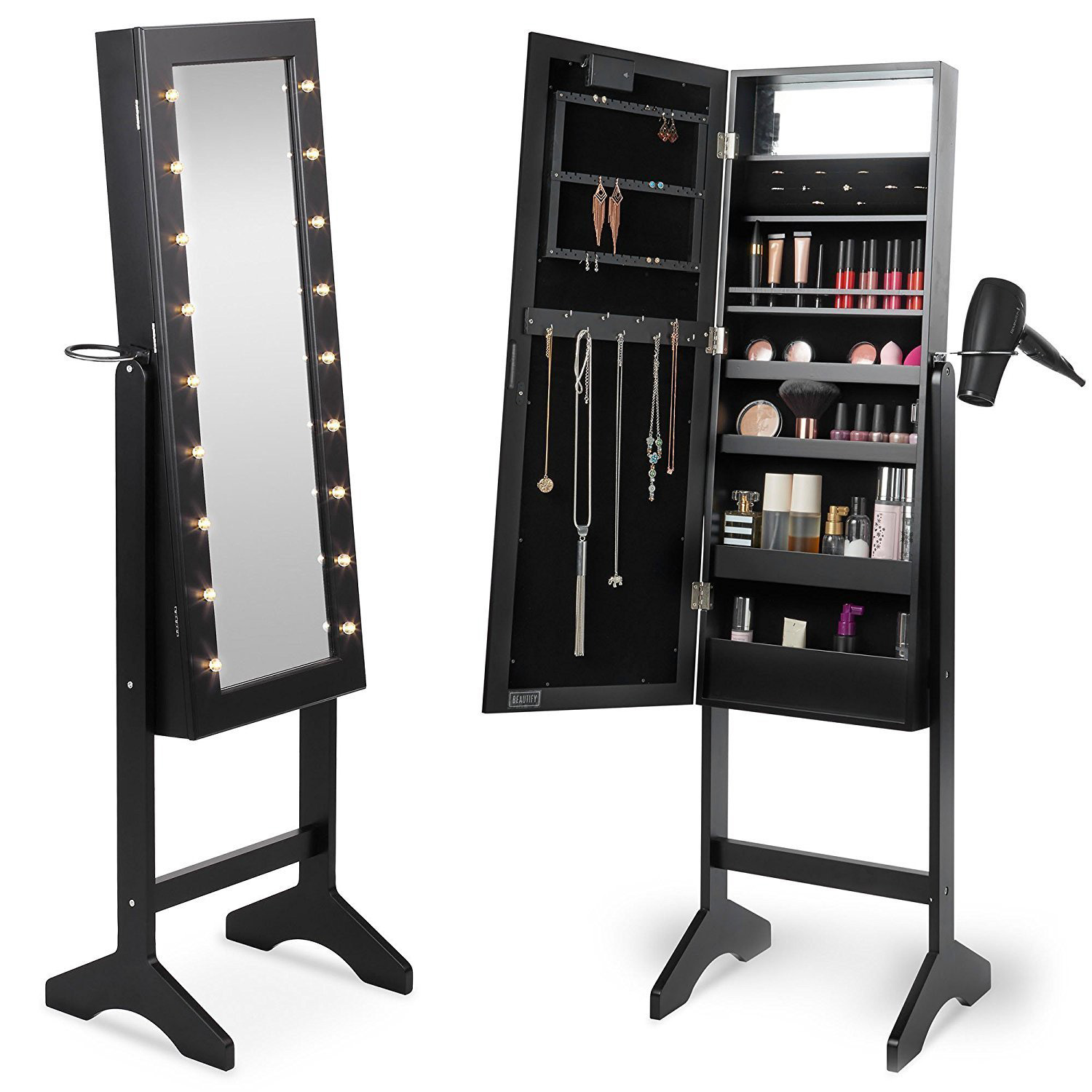 Black LED Lighted Cheval Mirror Floor Standing Jewelry Armoire