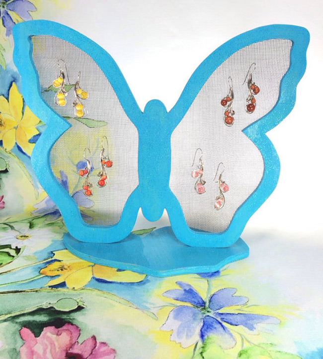 Blue Butterfly Shaped Mesh Wire Earring Holder