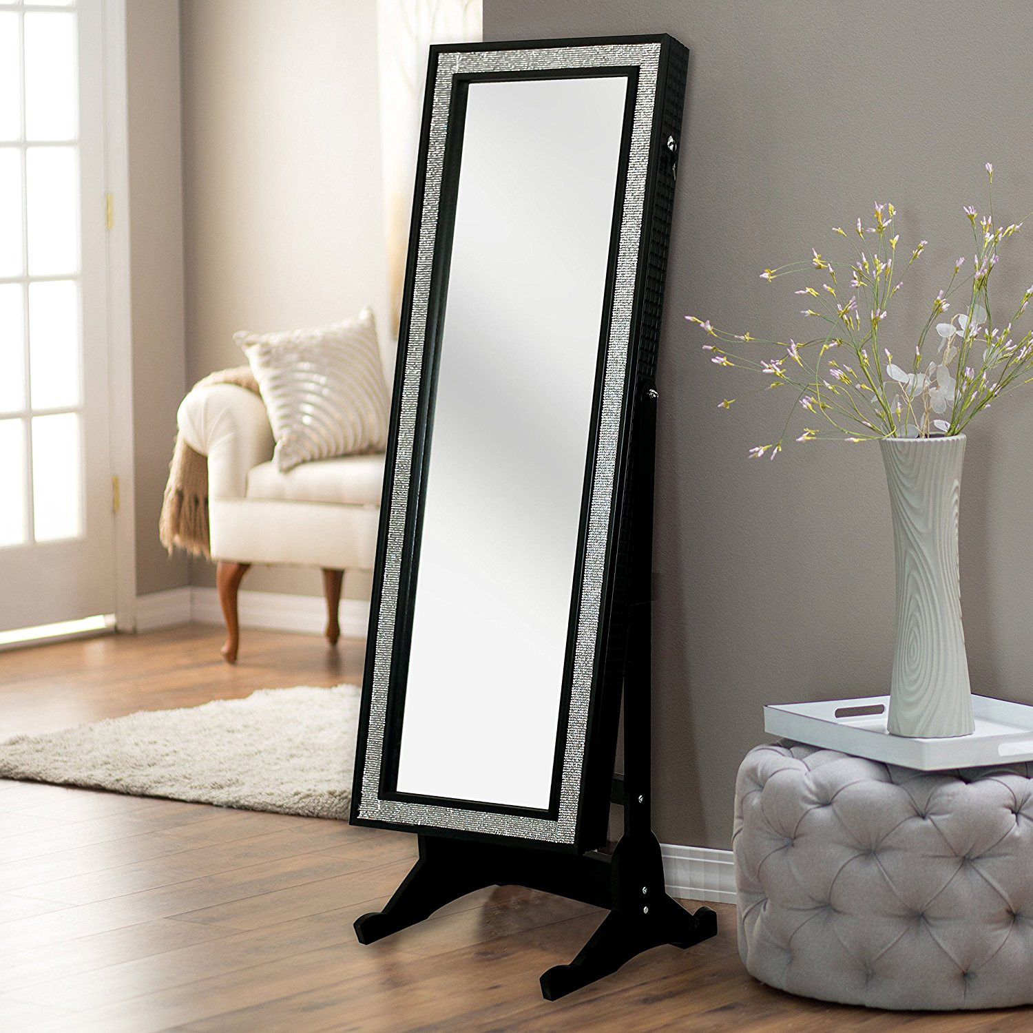 Creative Shiny Frame Full Length Mirror Jewelry Armoire