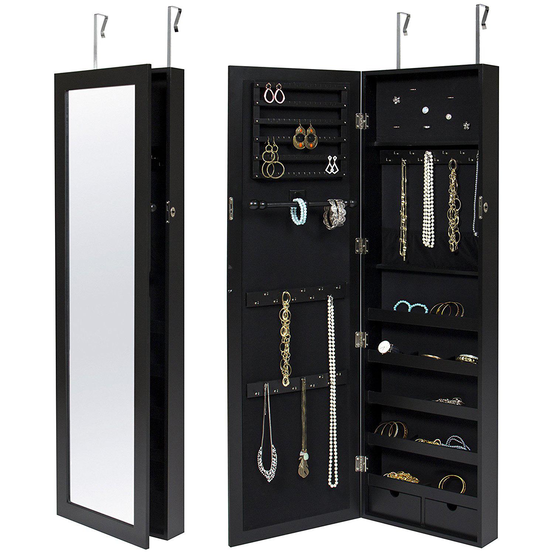 Elegant Mirrored Over The Door Black Jewelry Armoire