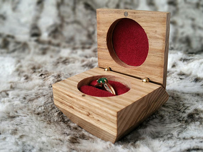 Elegant Wooden Engagement Ring Holder Box
