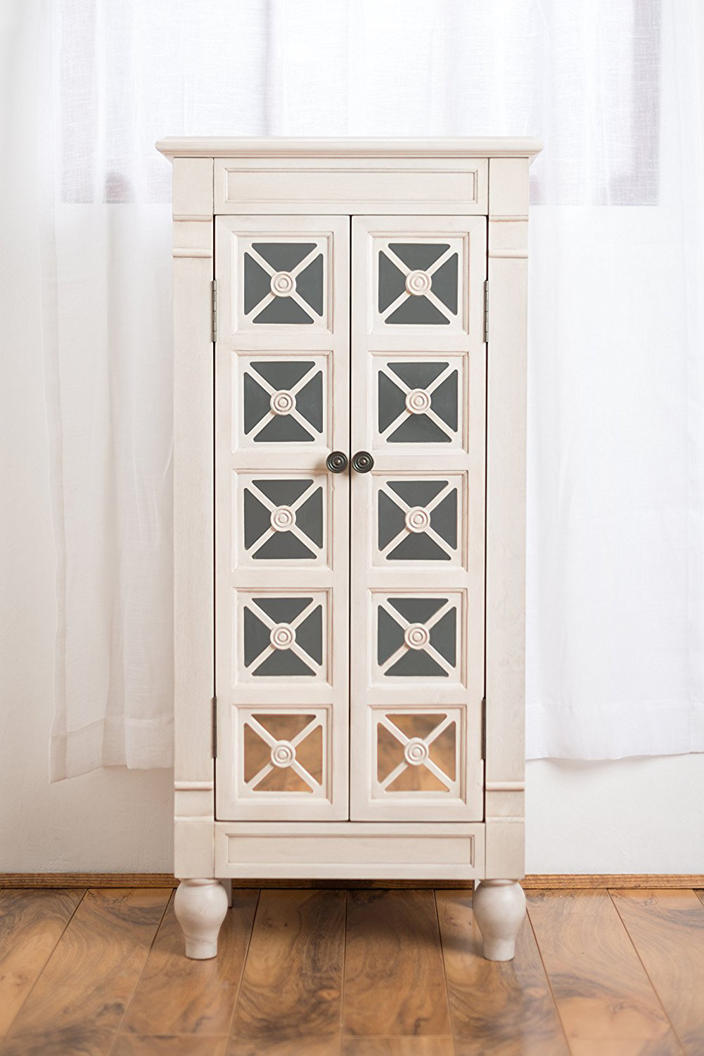 Gothic Design White Cabinet Style Jewelry Armoire