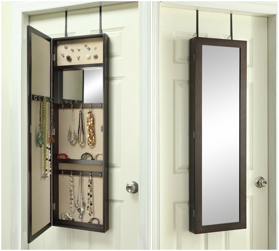 Minimalist Slim Frame Mirrored Over The Door Jewelry Armoire