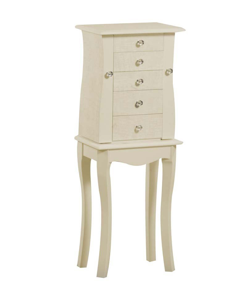 Small Elegant Decorative Curved Floor Standing Jewelry Armoire