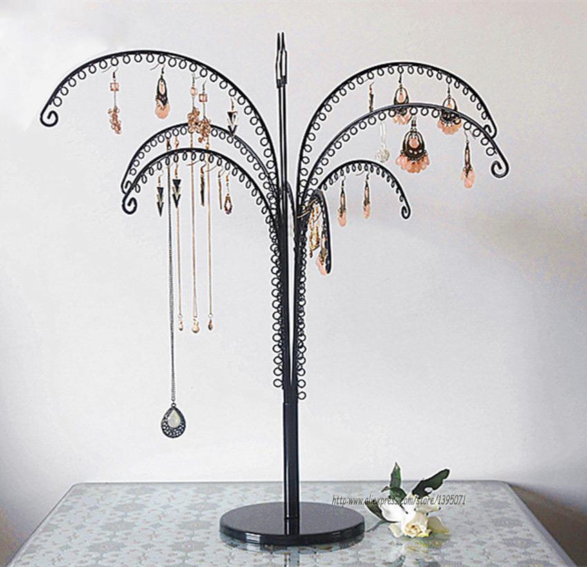 Vintage Black Large Capacity Tall Jewelry Tree Holder