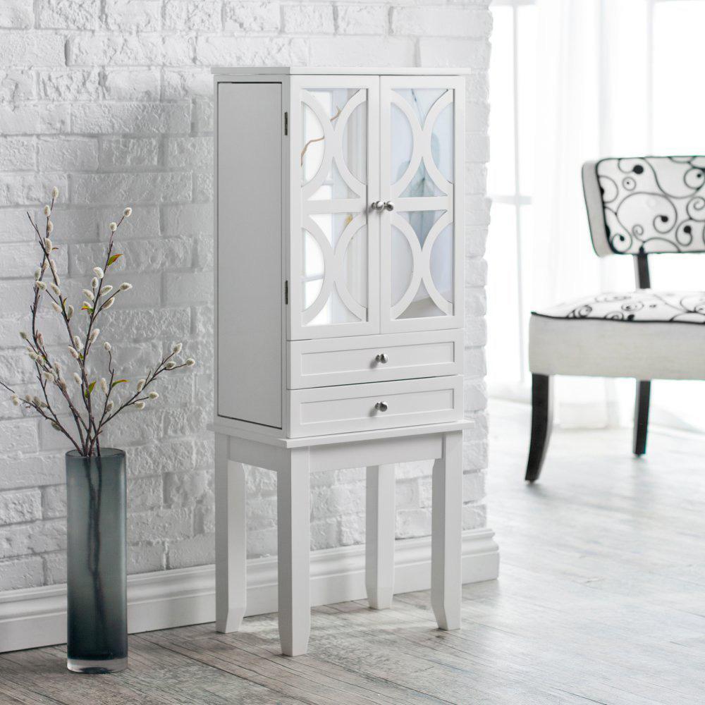 Elegant Decorative White Mirrored Jewelry Armoire Cabinet