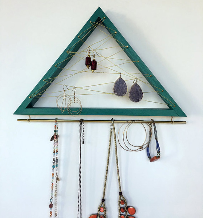 Minimalist Wall Hanging Triangle Shaped Earring Holder