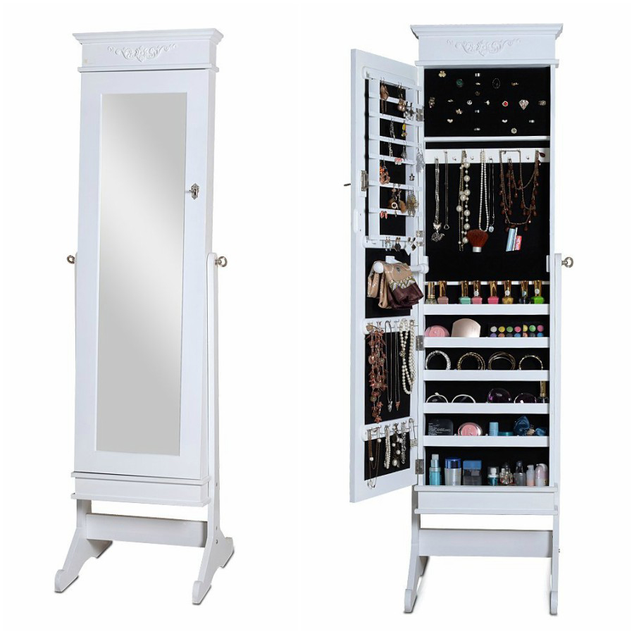 Simple White Tall Free Standing Mirror Jewelry Armoire