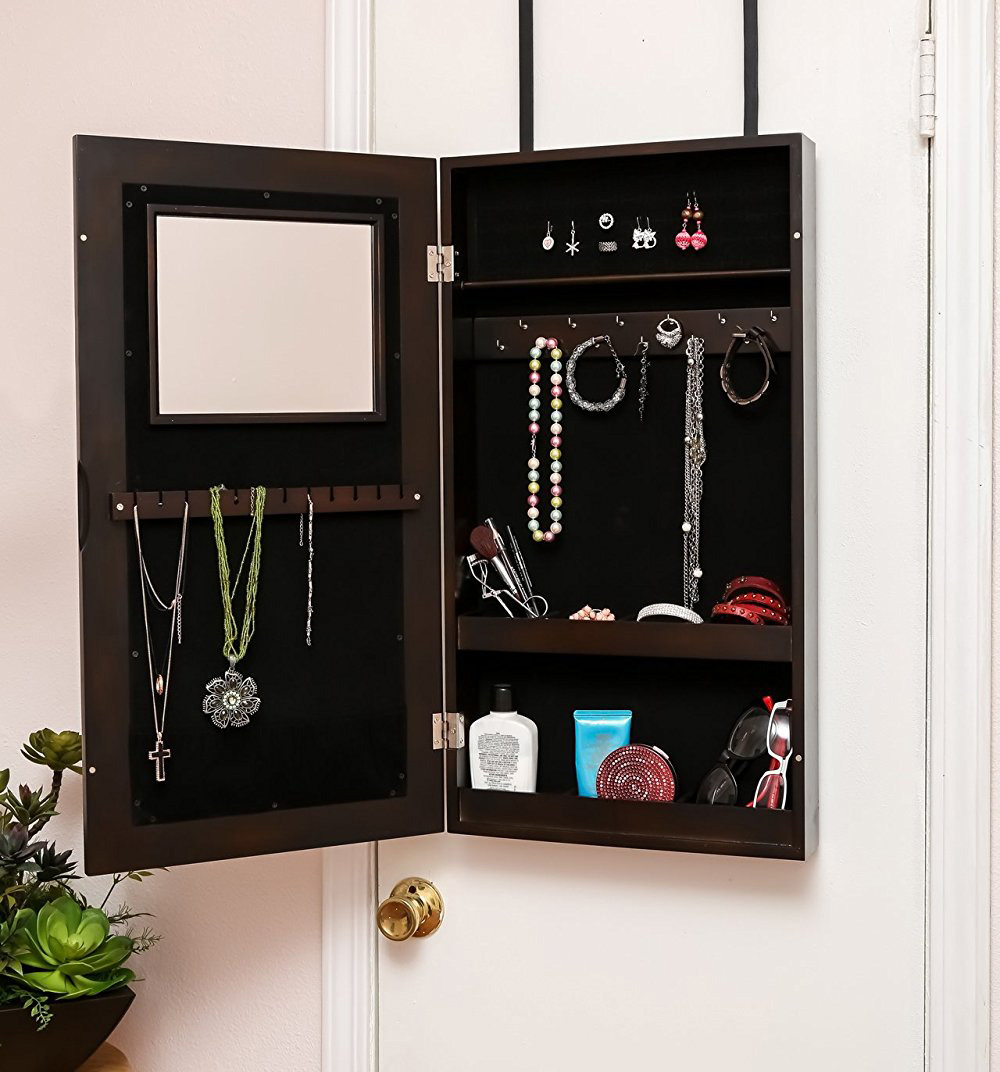 Small Mirrored Dark Brown Over The Door Jewelry Armoire